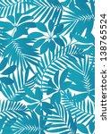 tropical leaves aqua blue | Shutterstock .eps vector #138765524