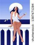 summer vacation poster. smiling ... | Shutterstock .eps vector #1387671284