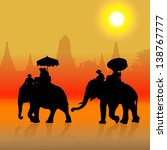 elephant tourist at sunset in... | Shutterstock . vector #138767777