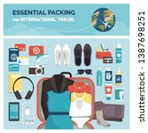 essential packing for... | Shutterstock .eps vector #1387698251