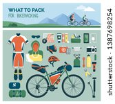 what to pack for bikepacking ... | Shutterstock .eps vector #1387698254