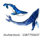 Watercolor Cute Whales On The...