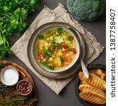 vegetable soup  dietary...   Shutterstock . vector #1387758407
