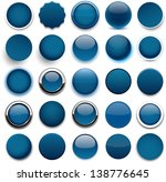 set of blank dark blue round... | Shutterstock .eps vector #138776645
