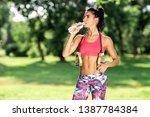 attractive fitness athlete...   Shutterstock . vector #1387784384