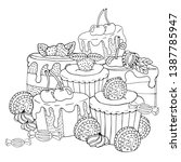 coloring page with cake ... | Shutterstock .eps vector #1387785947
