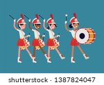 girls marching band flat vector ... | Shutterstock .eps vector #1387824047