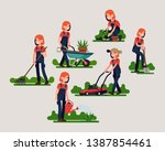 female gardener poses and... | Shutterstock .eps vector #1387854461