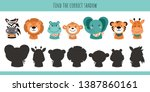 Stock vector animals learning children game find the correct shadow cartoon cute illustration vector 1387860161