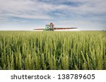 Tractor Spraying Wheat In The...