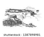 niagara falls vector sketch... | Shutterstock .eps vector #1387898981