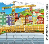 cartoon scene of construction... | Shutterstock . vector #1387904081