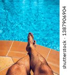 relaxing at the swimming pool....   Shutterstock . vector #1387906904