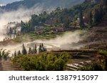 samaba rice terrace fields in... | Shutterstock . vector #1387915097