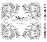 wreath of black roses or... | Shutterstock .eps vector #1387982171