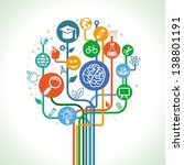 Vector education and science concept - abstract tree with icons and signs