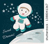 cute astronaut sweet dreams.... | Shutterstock .eps vector #1388041367