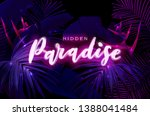 dark blue and violet neon... | Shutterstock .eps vector #1388041484