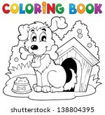 coloring book dog theme 1  ... | Shutterstock .eps vector #138804395