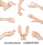 Collage Of Woman Hands Gesture...