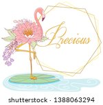 flamingo with flower body and... | Shutterstock .eps vector #1388063294