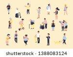 set of cartoon people walking... | Shutterstock . vector #1388083124