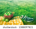 picnic basket and checkered... | Shutterstock . vector #1388097821
