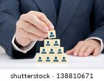 Small photo of Human resources and corporate hierarchy concept - recruiter complete team by one leader person (successor, CEO) represented by icon.