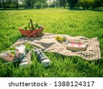 picnic table covered with... | Shutterstock . vector #1388124317