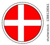 denmark flag sticker on white...   Shutterstock .eps vector #1388128061