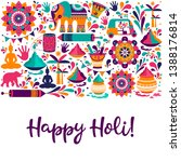 happy holi elements for card... | Shutterstock . vector #1388176814