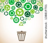 Vector ecology concept with recycle signs and symbols in green color