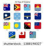 all flags of oceania square... | Shutterstock .eps vector #1388198327