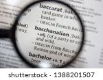 Small photo of The word of phrase bacchanalian in a dictionary.