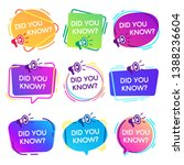did you know labels.... | Shutterstock . vector #1388236604