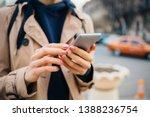 young woman wearing beige coat... | Shutterstock . vector #1388236754