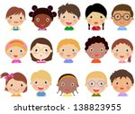 Children face set