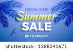 summer sale banner  up to 50 ... | Shutterstock .eps vector #1388241671