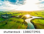 bright sunset over scenic river ... | Shutterstock . vector #1388272901