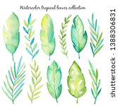 watercolor tropical leaves...   Shutterstock . vector #1388306831