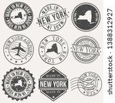 new york set of stamps. travel... | Shutterstock .eps vector #1388312927