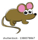 cartoon grey mouse with two...   Shutterstock .eps vector #1388378867