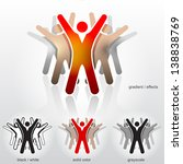 Group of abstract people with their hands up. Vector (EPS-10) symbol (icon, sign, emblem) about teamwork, group performance, people union, meeting a goal, collective success, esprit de corps, etc