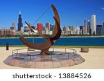 Chicago's Colorful Skyline as seen from the Adler Planetarium Grounds - stock photo