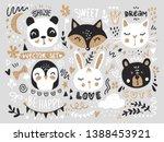 Stock vector vector set with cartoon animals fox bear panda bunny penguin cat cute phrases and elements 1388453921