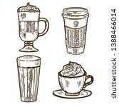 vector hand drawn set of coffee.... | Shutterstock .eps vector #1388466014