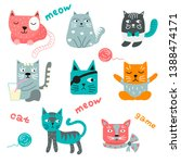 set of multi colored cats drawn ... | Shutterstock .eps vector #1388474171