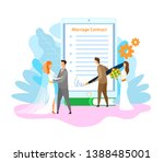 marriage contract signing flat... | Shutterstock .eps vector #1388485001