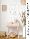 Small photo of Stylish beige interior of living room with mock up poster frame, rattan accessories, wooden shelf, flowers and elegant personal stuff. Minimalistic concept of home decor. Korean inspiration. Template.
