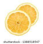 round lemon pieces isolated on... | Shutterstock . vector #1388518547